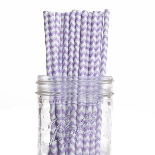 Dress My Cupcake 50 Pack Vintage Paper Straws, Lilac Lavender Chevron: Kitchen & Dining