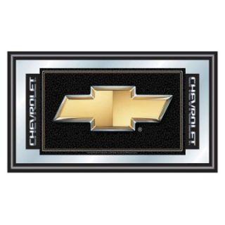 Chevy Bow Tie Logo Framed Mirror   26 x 15   Game Room & Billiards