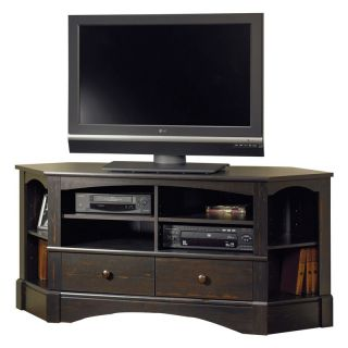 Sauder Harbor View Corner Entertainment Credenza   Antiqued Paint   TV Stands