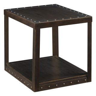 Magnussen Thurmon Rectangle Aged Metal and Brass End Table   End Tables
