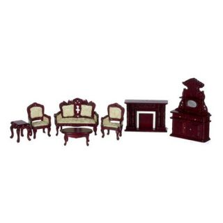 Town Square Miniatures White Mahogany Living Room Set   7 Piece   Collector Dollhouse Accessories