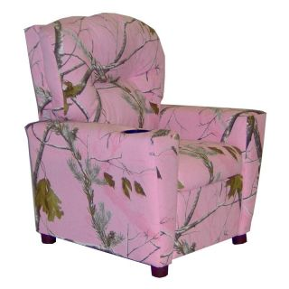 Dozydotes Kid Recliner with Cup Holder   Camouflage Pink   Kids Recliners