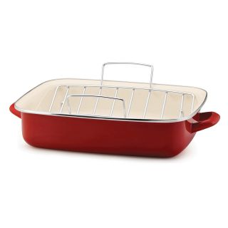 Rachael Ray Red Enamel on Steel 16.5 in. Open Roaster with V Shape Rack   Roasting Pans