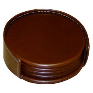 Dacasso Rustic Brown Leather Coaster Set