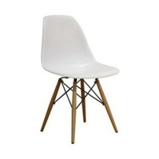 Wood Leg White Molded Plastic Seat Dining Chair   Dining Chairs