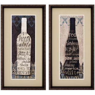 Black and White Wine Framed Wall Art   Set of 2   14W x 26H in. ea.   Framed Wall Art