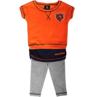 Chicago Bears Infant Girls Crew T Shirt & Leggings Set   Orange/Navy Blue/Ash