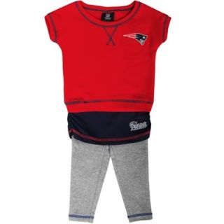 New England Patriots Infant Girls Crew T Shirt & Leggings Set   Red/Navy Blue/Ash