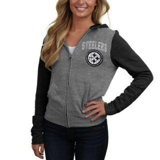 Pittsburgh Steelers Ladies Distressed Tri Blend Full Zip Fleece Hoodie   Ash/Black