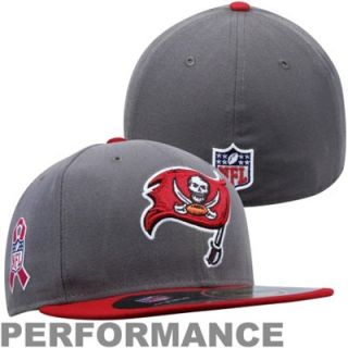New Era Tampa Bay Buccaneers Breast Cancer Awareness On Field 59FIFTY Fitted Performance Hat   Pewter/Red