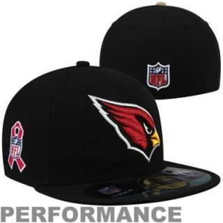 New Era Arizona Cardinals Breast Cancer Awareness On Field 59FIFTY Fitted Performance Hat   Black