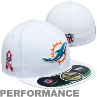 New Era Miami Dolphins Breast Cancer Awareness On Field 59FIFTY Fitted Performance Hat   White