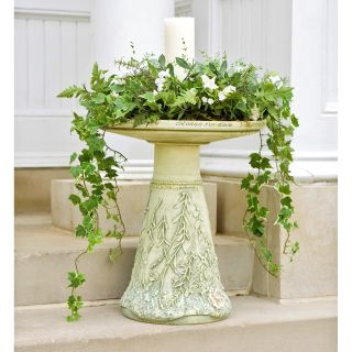Hand Painted Garden Wedding Bird Bath & Pedestal   Bird Baths
