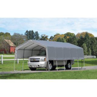 ShelterLogic Carport in a Box 12 x 20 x 8 Peak Frame Port   Grey Cover   Carports