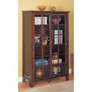 Coaster Bookcase with Sliding Glass Doors   Cappuccino   Bookcases
