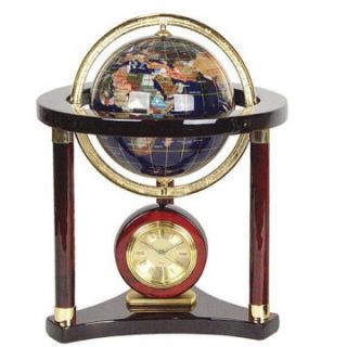 Hemingway Mahogany Gemstone Globe and Desktop Clock   Desktop Clocks