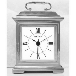 Seiko Bolton Mini Carriage Alarm Clock   Silver   Mantel Clocks