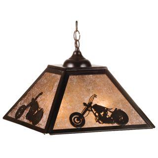 Meyda Tiffany Pyramid Motorcycle Pendant Light   16W in. Bronze   Billiard Lights