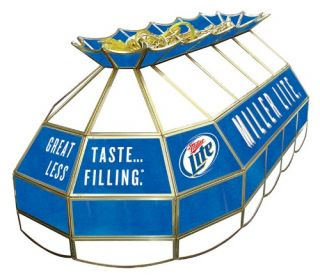 Miller Lite Stained Glass Pool Table Light   40 Inch   Billiard Lights