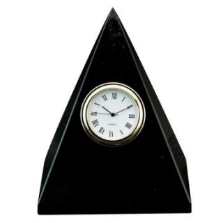 Jet Black Marble Pyramid Desktop Clock   Desktop Clocks