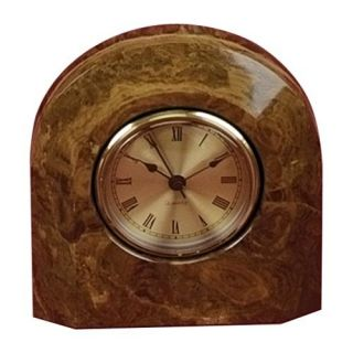 Swirl Amber Marble Arch Desktop Clock With Bevel   Desktop Clocks
