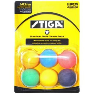 Stiga One Star Table Tennis Balls   6 Assorted Colors   Table Tennis Equipment