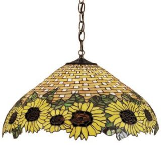 Meyda Tiffany Amber Sunflower Pendant Light   22W in. Bronze   Tiffany Ceiling Lighting