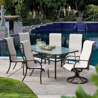 Coral Coast Del Rey 72 x 42 in. Rectangle Glass Top Patio Dining Table   Mocha Brown   Patio Tables