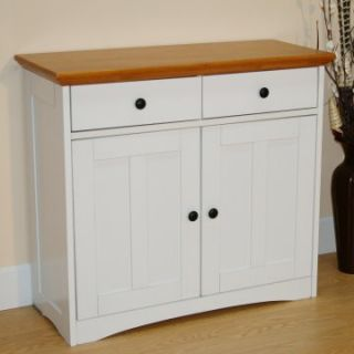 2 Drawer Storage Buffet   White and Oak   Kitchen Islands and Carts