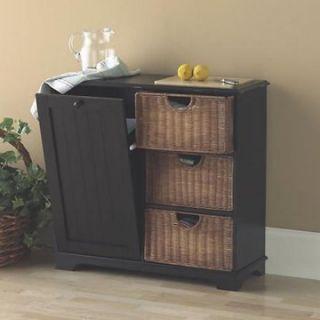 Trash Bin Kitchen Storage Table with Cutting Board   Wicker Furniture