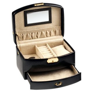 Tuscan Design Burgundy Leather Jewelry Box Travel Case