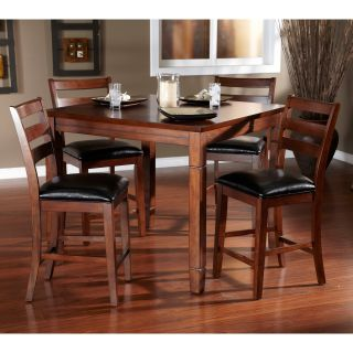 AHB Rosa 5 Piece Dining/Game Table Set with Flip Top   Mocha   Dining Table Sets