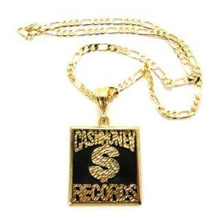 "Silber / H?matit Neuer Platz Cash Money Records Anh?nger w/5mm 24 ""Figaro Kette Gold XOP3G1: Schmuck"