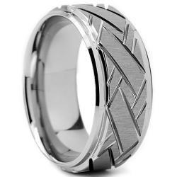 Tungsten Carbide Men's Weave Grooved Pattern Ring (9 mm) Men's Rings