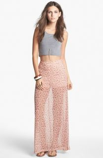 Mimi Chica Print Sheer Maxi Skirt (Juniors)