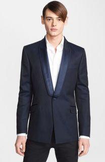John Varvatos Star USA Navy Stripe Peak Lapel Sportcoat