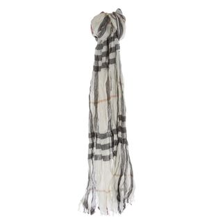 Burberry Ivory Giant Check Crinkle Scarf Burberry Designer Scarves & Wraps