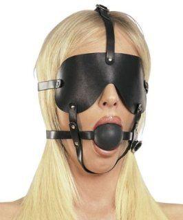 Bondage Leder Harness Ball Mund Knebel mit Augenbinde: Drogerie & Körperpflege