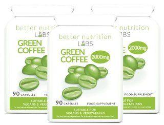 Gr�ner Kaffee Extrakt (Green Coffee Extract) 3 Monatsvorrat   Hoch konzentriertes Pr�parat aus 2000mg reinen gr�nen Kaffees sowie 20% Chlorogens�ure von Better Nutrition Labs   270 Kapseln Drogerie & Körperpflege