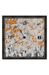 Green Leaf Art Orange Bushes Clock
