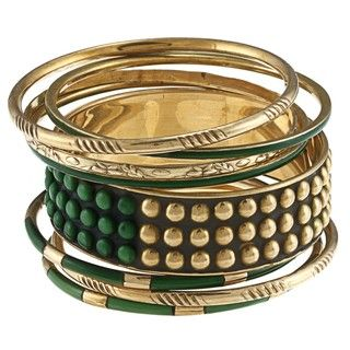 Ayala Gold and Earth Green Stones Bangle Bracelet (India) Bracelets