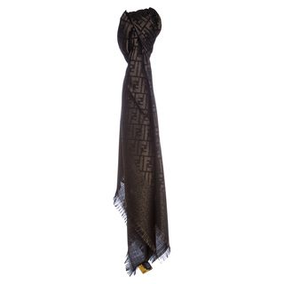 Fendi Jacquard Zucca Wool Blend Black/Gold Shawl Fendi Designer Scarves & Wraps