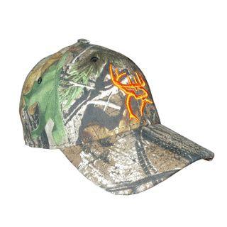 Buck Commander Camo/ Orange Deer Head Flex Fit Hat Other Collectibles
