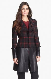 Lafayette Cecille Tweed & Leather Coat