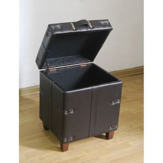 Brown Leather Trunk Side Table Storage Ottoman Ottomans