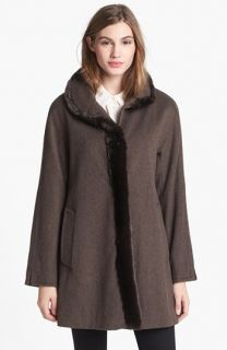 Ellen Tracy Faux Fur Trim Wool Blend Coat (Online Only)