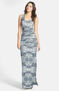 Nicole Miller Pleated Print Maxi Dress