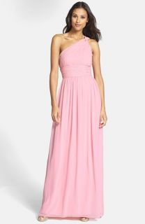 Donna Morgan Rachel Ruched One Shoulder Chiffon Gown (Regular & Plus)