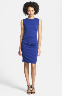 Nicole Miller Sleeveless Tucked Body Con Sheath Dress