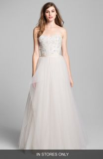 Sean Collection Embellished Strapless Tulle Ball Gown